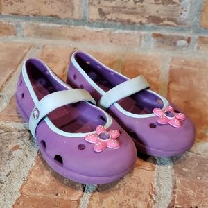 Girls Flowered Crocs